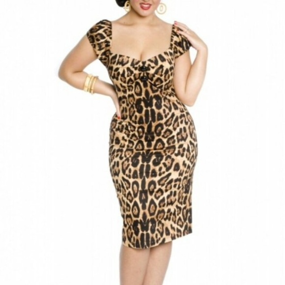7ed015603922 Collectif Dresses | Dolores Leopard Print Wiggle Dress M | Poshmark